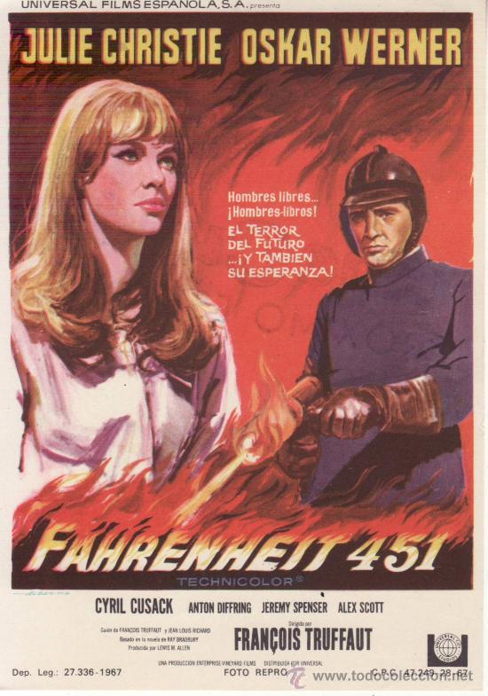 FARENHEIT 451 - PROGRAMA DE MANO AÑO 1967 (Cine - Folletos de Mano - Acción)