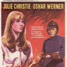 Cine: FARENHEIT 451 - PROGRAMA DE MANO AÑO 1967. Lote 36351468