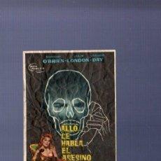 Cine: PROGRAMA DE CINE. CON PUBLICIDAD. ALLO... LE HABLA EL ASESINO. CINE VIGO. ZENIT. . Lote 36393189