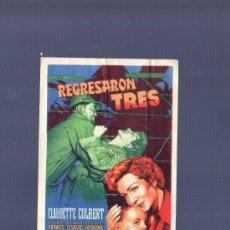 Cine: PROGRAMA DE CINE. S/P. REGRESARON TRES. . Lote 36466482