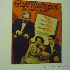 Cine: PROGRAMA DOBLE CAFE METROPOL - TYRONE POWER - PUBLICIDAD. Lote 36495237