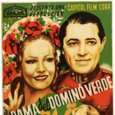 Flyers Publicitaires de films Anciens: PROGRAMA CINE - ARAJOL - LA DAMA DEL DOMINO VERDE - JUNE KNIGH - MICHAEL BARTLETT - RICHARD DOLMAN -. Lote 36494045