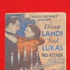 Cine: A LA LUZ DEL CANDELABRO, DOBLE 1936, ELISSA LANDI PAUL LUKAS, CON PUBLICIDAD CINE IDEAL. Lote 36515867