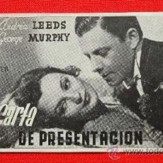 Cine: CARTA DE PRESENTACIÓN, SENCILLO EXCTE ESTADO, E BERGEN, CON PUBLI XI FERIA MUESTRAS BARCELONA 1943. Lote 36536345
