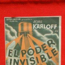 Cine: EL PODER INVISIBLE, DOBLE AÑOS 30, BORIS KARLOFF BELA LUGOSI, CON PUBLICIDAD UNIÓ REPUBLICANA. Lote 36540807