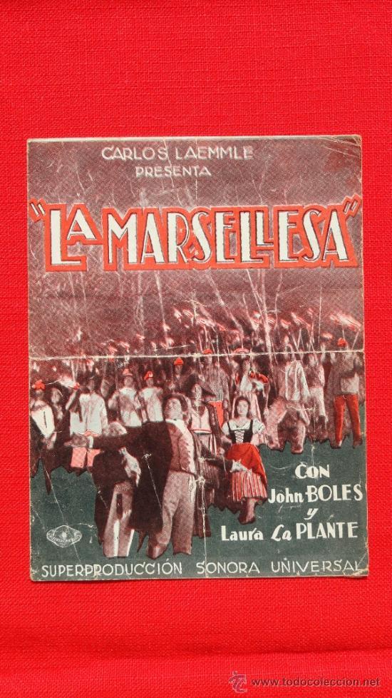 LA MARSELLESA, DOBLE 1931, JOHN BOLES Y LAURA LA PLANTE, CON PUBLICIDAD TEATRO FORTUNY (Cine - Folletos de Mano - Musicales)
