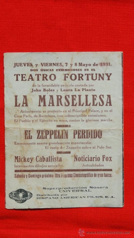 Cine: LA MARSELLESA, DOBLE 1931, JOHN BOLES Y LAURA LA PLANTE, CON PUBLICIDAD TEATRO FORTUNY - Foto 3 - 36541511