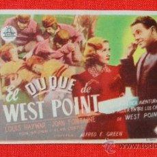 Cine: EL DUQUE DE WEST POINT, SENCILLO ORIGINAL, EXCTE ESTADO, LOUIS HAYWAR JOAN FONTAINE, SIN PUBLICIDAD. Lote 36580150
