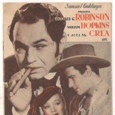 Cine: LA CIUDAD SIN LEY PROGRAMA DOBLE ARTISTAS ASOCIADOS MIRIAM HOPKINS EDWARD G. ROBINSON JOEL MCCREA. Lote 36652100