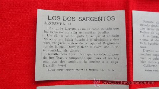 Cine: Los dos sargentos franceses, 6 Reclam tiket films, impecable serie completa con argumento, 1913 - Foto 3 - 36616775