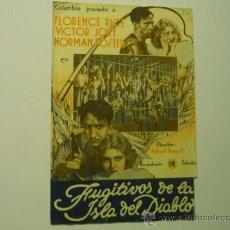 Cine: PROGRAMA DOBLE FUGITIVOS DE LA ISLA DEL DIABLO .- N.FOSTER. Lote 36633083