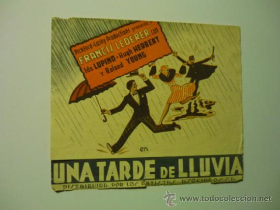 PROGRAMA DOBLE UNA TARDE DE LLUVIA .- FRANCIS LEDERER -PUBLICIDAD (Cine - Folletos de Mano - Comedia)