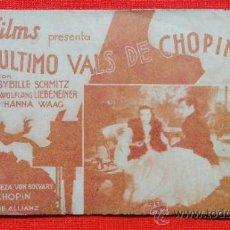 Cine: EL ULTIMO VALS DE CHOPIN, DOBLE AÑOS 30, SYBILLE SCHMITZ, CON PUBLICIDAD SALÓ MODERN. Lote 36639524