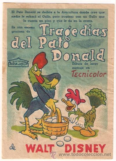 TRAGEDIAS DEL PATO DONALD PROGRAMA SENCILLO ARAJOL WALT DISNEY (Cine - Folletos de Mano - Infantil)