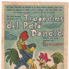 Cine: TRAGEDIAS DEL PATO DONALD PROGRAMA SENCILLO ARAJOL WALT DISNEY. Lote 36653332