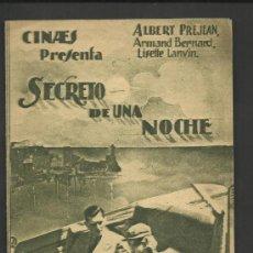 Cine: SECRETO DE UNA NOCHE - DOBLE -VER FOTOS - (C- 1222). Lote 36665247