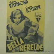 Cine: PROGRAMA DOBLE LA BELLA REBELDE - GENE RAYMOND. Lote 36716005