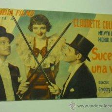 Cine: PROGRAMA DOBLE PUBLICIDAD SUCEDIO UNA VEZ.- CLAUDETTE COLBERT-PUBLICIDAD. Lote 36716115