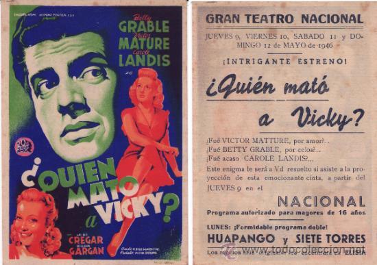 PROGRAMA DE CINE QUIEN MATO A VICKY (Cine - Folletos de Mano - Suspense)
