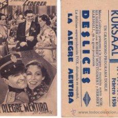 Cine: PROGRAMA DE CINE LA ALEGRE MENTIRA 1936. Lote 36745242