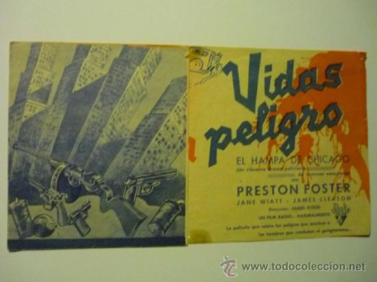 PROGRAMA DOBLE VIDAS EN PELIGRO -PRESTON FOSTER (Cine - Folletos de Mano - Acción)