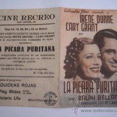 Cine: LA PICARA PURITANA CARY GRANT COLUMBIA - FOLLETO DE MANO DOBLE ORIGINAL ESTRENO CON CINE IMPRESO. Lote 36784124