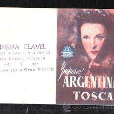 Cine: PROGRAMA DE CINE DOBLE. C/P. TOSCA. CINEMA CLAVEL. CIFESA. Lote 36795551