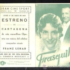 Cine: PROGRAMA DE CINE DOBLE. C/P. FRASQUITA. GRAN CINE SPORT. EMPRESA L.M.S. Lote 36795685