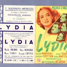 Cine: PROGRAMA DE CINE DOBLE. CON PUBLICIDAD. 4 LYDIA. T. GUERRERO. MENDOZA. . Lote 36797297