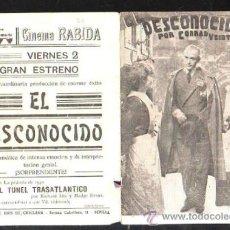 Cine: PROGRAMA DE CINE DOBLE. C/P. DESCONOCIDO. CINEMA RABIDA. EMPRESA SANCHEZ RAMADE. DIARIO DE HUELVA. Lote 36798573