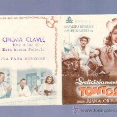 Cine: PROGRAMA DE CINE DOBLE. CON PUBLICIDAD. DELICIOSAMENTE TONTOS. CINEMA CLAVEL. . Lote 36824711