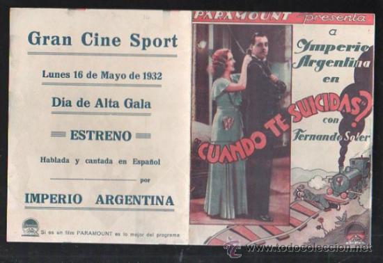 PROGRAMA DE CINE DOBLE. C/P. CUANDO TE SUICIDAS?. GRAN CINE SPORT. PARAMOUNT FILMS (Cine - Folletos de Mano - Comedia)