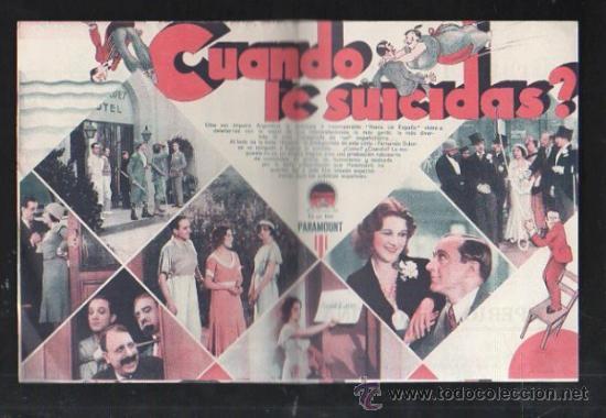Cine: PROGRAMA DE CINE DOBLE. C/P. CUANDO TE SUICIDAS?. GRAN CINE SPORT. PARAMOUNT FILMS - Foto 2 - 36825178