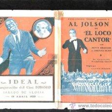 Cine: PROGRAMA DE CINE DOBLE. C/P. EL LOCO CANTOR. IDEAL. EXCLUSIVAS DIANA.. Lote 36826150