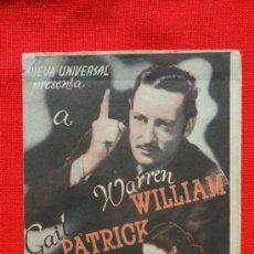 Cine: EL BESO REVELADOR, DOBLE , WARREN WILLIAM GAIL PATRICK, CON PUBLICIDAD CINE ODEON. Lote 36836141