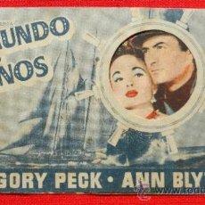 Cine: EL MUNDO EN SUS MANOS, DOBLE TROQUELADO 1954, GREGORY PECK, CON PUBLICIDAD CINE CULTURAL. Lote 36836342