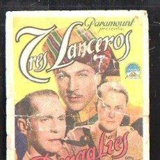 Cine: PROGRAMA DE CINE. C/P. TRES LANCEROS BENGALIES. TEATRO VICTORIA. IMPRENTA RIO. PARAMOUNT FILMS. Lote 36866366