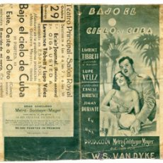 Flyers Publicitaires de films Anciens: BAJO EL CIELO DE CUBA, PROGRAMA DOBLE, CON LUPE VÉLEZ Y LAWRENCE TIBBETT. PUBLICIDAD TORRELAVEGA. Lote 36862107