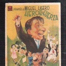 Cine: PROGRAMA DE CINE. C/P. HEROE A LA FUERZA. SALA NARBON. ARTES GRAFIAS ROLDAN Y CIA.. Lote 36886770