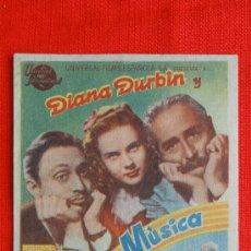 Cine: LOCA POR LA MUSICA, SENCILLO EXCELENTE ESTADO, DIANA DURBIN, CON PUBLICIDAD CINE NUEVO. Lote 36954601
