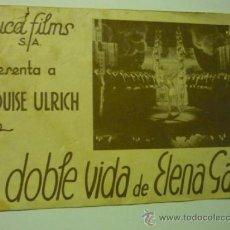 Cine: PROGRAMA DOBLE CON PUBLICIDAD LA DOBLE VIDA DE ELENA GAL- LOUISE ULRICH. Lote 37001330