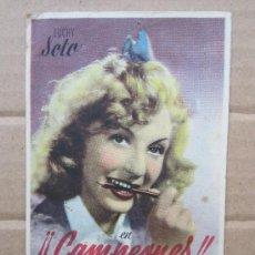 Folhetos de mão de filmes antigos de cinema: CAMPEONES - RICARDO ZAMORA - DETRAS, CINE SAVOY 1944- ULLDECONA. Lote 37004853