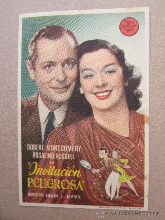 INVITACION PELIGROSA - DETRAS CINE CAPITOL - BENICARLO 1945 (Cine - Folletos de Mano - Comedia)