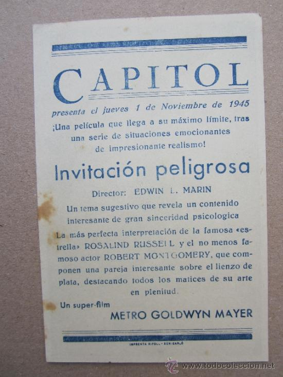 Cine: invitacion peligrosa - detras cine capitol - benicarlo 1945 - Foto 2 - 37036090