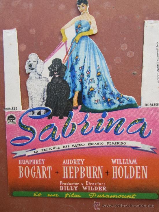 PROGRAMA TROQUELADO , SABRINA - HUMPHREY BOGART , AUDRY HEPBURN - SALA EDISON , FIGUERAS 1954 (Cine - Folletos de Mano - Comedia)
