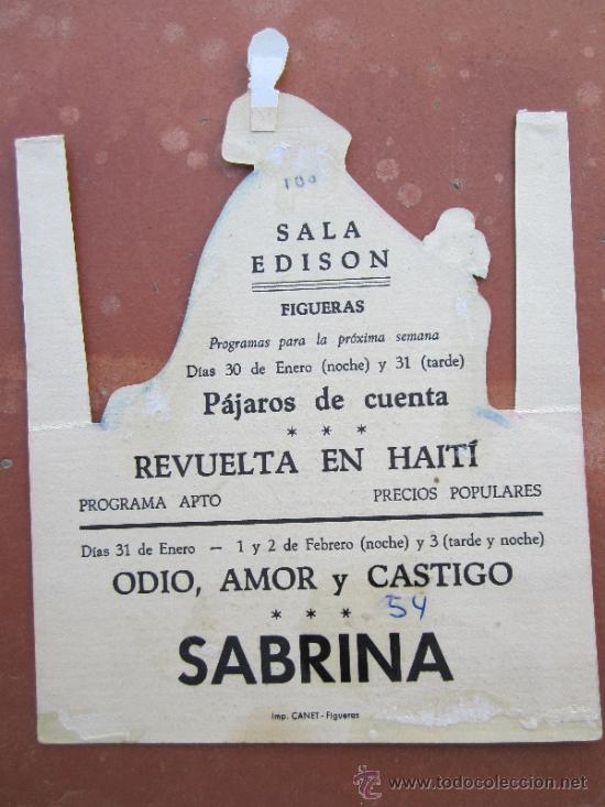Cine: programa troquelado , SABRINA - humphrey bogart , audry hepburn - sala edison , figueras 1954 - Foto 2 - 37058439