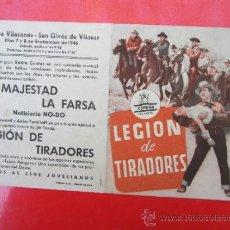 Cine: PROGRAMA GRANDE - LEGION DE TRAIDORES - CENTRO VILASANES , SAN GINES DE VILASAR 1946. Lote 37114779