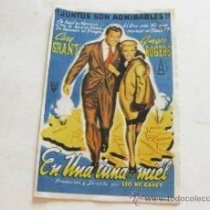 Cine: FOLLETO DE MANO DE LA PELICULA EN UNA LUNA DE MIEL - GARY GRANT Y GINGER ROGERS. Lote 37247306