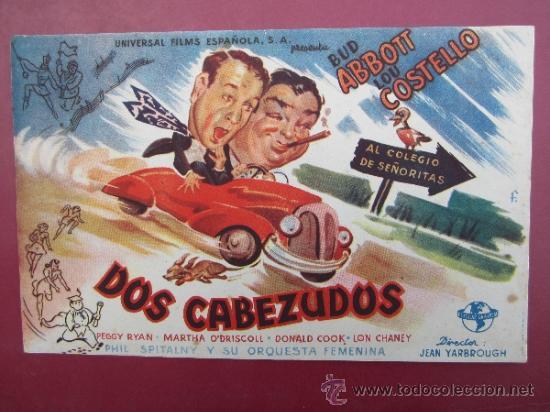 PROGRAMA GRANDE - DOS CABEZUDOS - BUD ABBOTT , LOU COSTELLO - SIN IMPRIMIR (Cine - Folletos de Mano - Comedia)