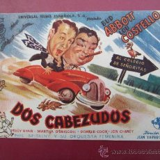 Cine: PROGRAMA GRANDE - DOS CABEZUDOS - BUD ABBOTT , LOU COSTELLO - SIN IMPRIMIR. Lote 37235290